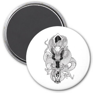 Tatuaje oriental fresco del dragón del negro de la imán redondo 7 cm