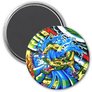 Tatuaje oriental fresco del dragón imán redondo 7 cm