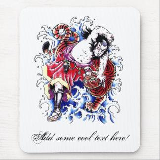 Tatuaje oriental fresco del guerrero y del tigre alfombrilla de ratón