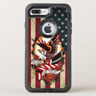 Tatuaje patriótico de Eagle calvo de la bandera Funda OtterBox Defender Para iPhone 8 Plus/7 Plus