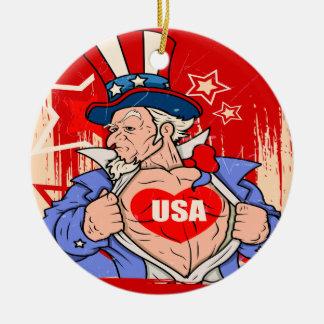 Tatuaje poderoso de los E.E.U.U. del amor del tío Adorno Navideño Redondo De Cerámica