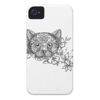 Tatuaje principal de la flor del jazmín del gato funda para iPhone 4