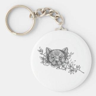Tatuaje principal de la flor del jazmín del gato llavero