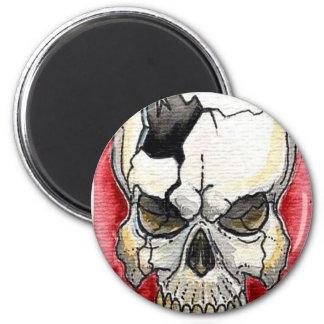 Tatuaje quebrado del cráneo imán de frigorífico