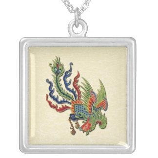 Tatuaje rico chino del pavo real colgante cuadrado