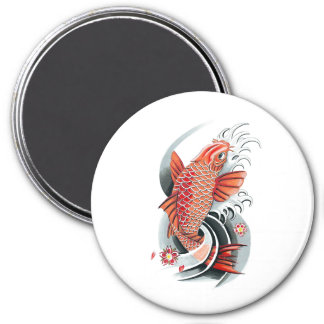 Tatuaje rojo japonés oriental fresco de los pescad iman de frigorífico