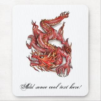Tatuaje rojo oriental fresco del dragón alfombrilla de ratón