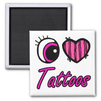 Tatuajes del amor del corazón I del ojo de Emo Imán Cuadrado