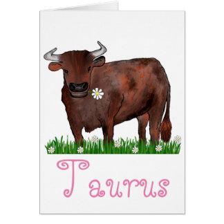 Tauro bonito Bull y tarjeta del zodiaco de las