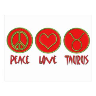 Tauro del amor de la paz postal