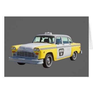 Taxi a cuadros amarillo y blanco felicitacion