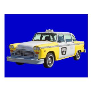Taxi a cuadros amarillo y blanco tarjeta postal