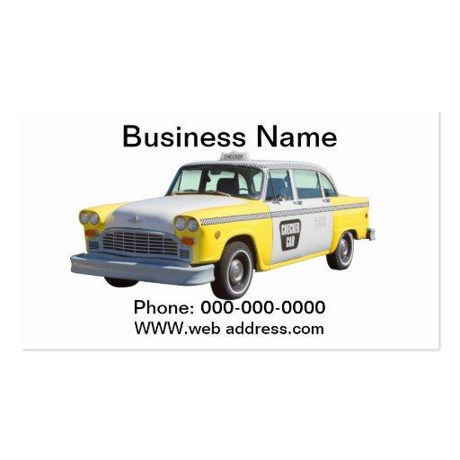 Taxi a cuadros amarillo y blanco tarjetas de visita