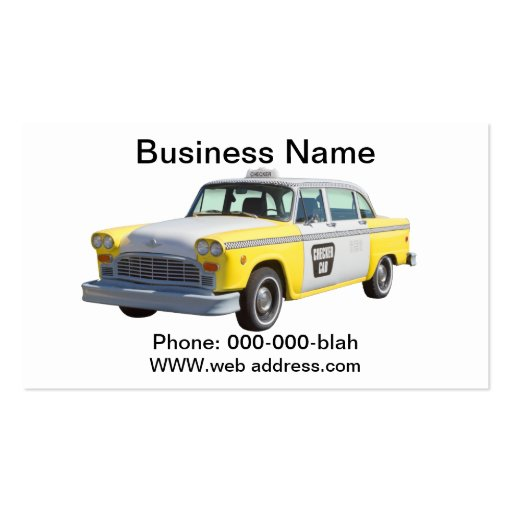 Taxi a cuadros amarillo y blanco plantilla de tarjeta de visita