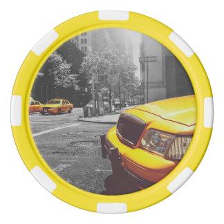 Taxi amarillo 01 fichas de póquer