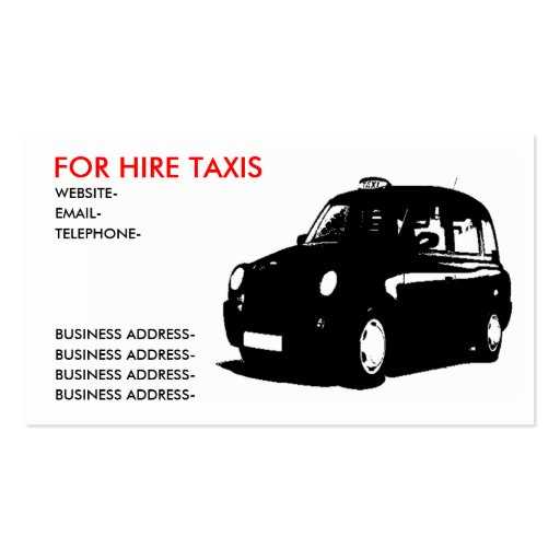 Taxi británico plantillas de tarjetas personales