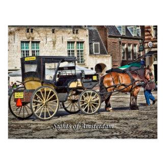Taxi con errores del caballo, vistas de Amsterdam Postal