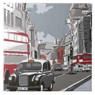 Taxi en Londres Azulejo Cuadrado Grande