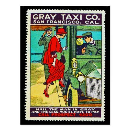 Taxi gris Co. SF de la postal del sello del poster