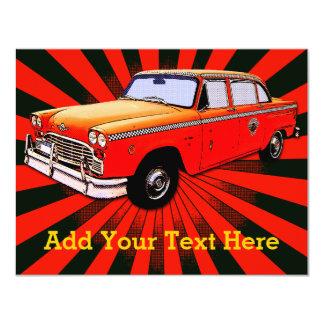 Taxi retro de New York City Invitación 10,8 X 13,9 Cm