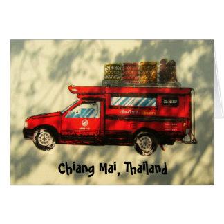 Taxi rojo en Chiang Mai Tarjeta De Felicitación