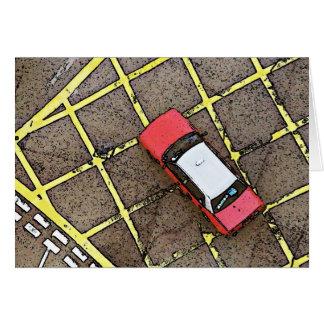 Taxi rojo tarjeta de felicitación