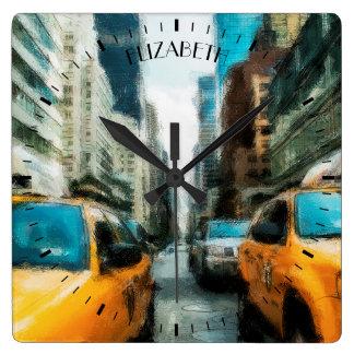 Taxis amarillos después de la lluvia en New York Reloj Cuadrado
