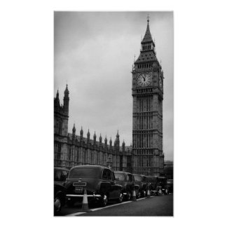 Taxis del en de Big Ben en poster blanco y negro Póster