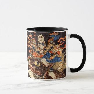 Taza 侍と化け蛙, samurai y rana gigante, Kuniyoshi, Ukiyo