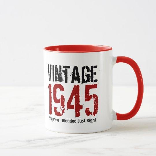 Taza 70.o Cumpleaños vintage V01G de 1945 o CUALQUIE