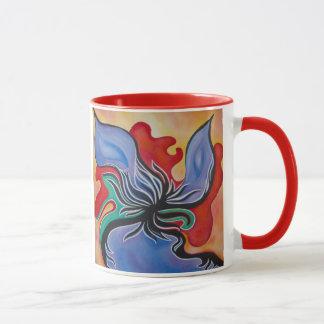 Taza abstracta intrépida y brillante de la flor
