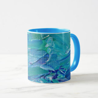 Taza abstracta pintada aceite en azul, verde