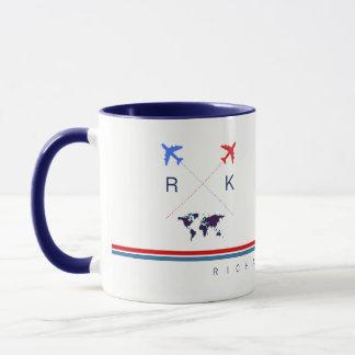 Taza aeroplanos monograma, blanco americano del viaje