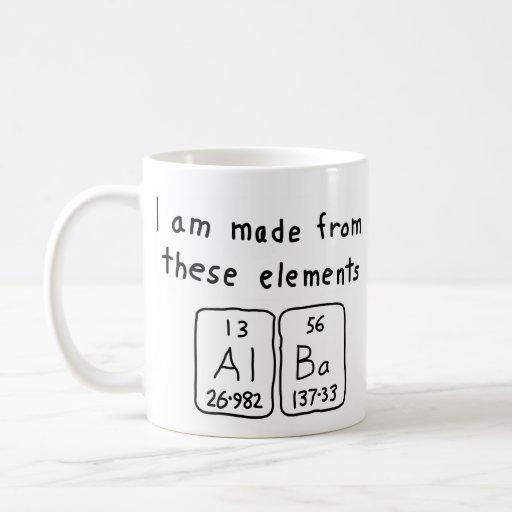 Taza Alba del nombre de la tabla periódica