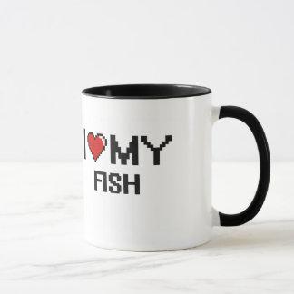 Taza Amo mi diseño de Digitaces de los pescados