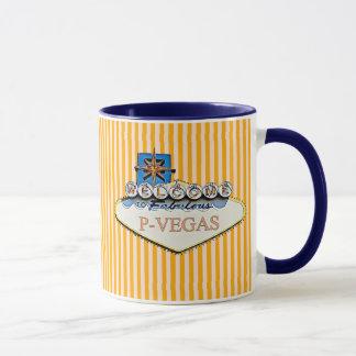 Taza anaranjada azul de P-Vegas Platteville