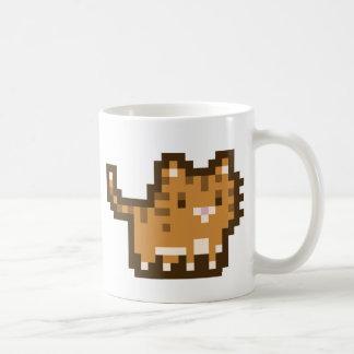 Taza anaranjada del arte del pixel del gato