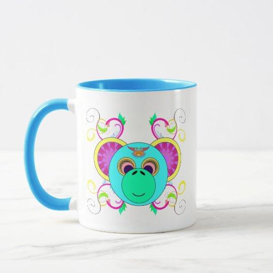 Taza Animal psicodélico colorido del arco iris del mono