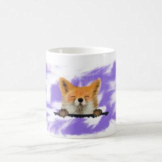 Taza animal roja linda del Fox con el fondo