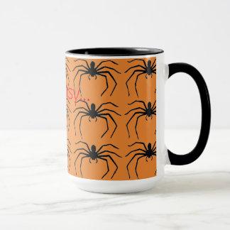 Taza Araña negra de las brujas asustadizas de Halloween