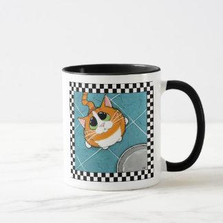 Taza Arte hambriento del gato del gato de Tabby del