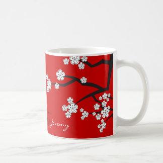 Taza asiática del boda de Sakura del zen blanco de