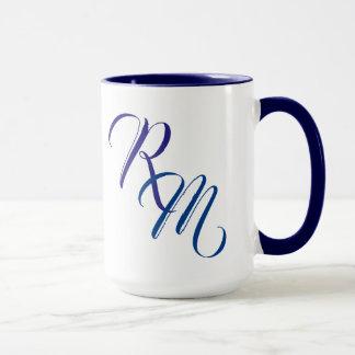 Taza Taza azul de encargo de la inicial del monograma