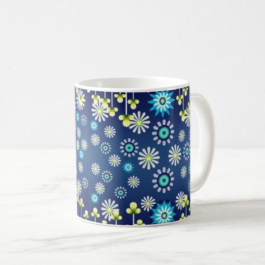 Taza azul de flores campestres