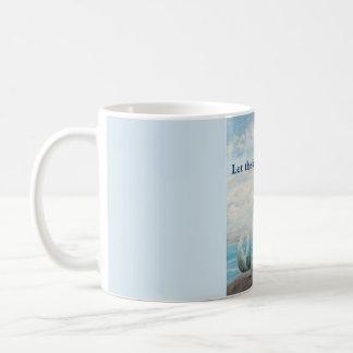 Taza azul de la taza de café de la sirena