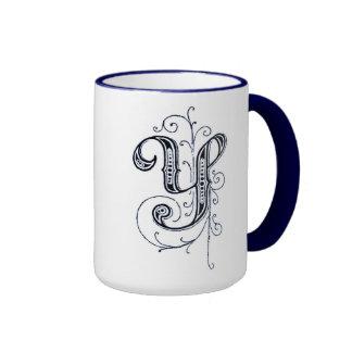 """Taza azul de lujo del monograma """"Y"""" del vintage -"""