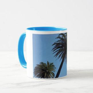 Taza azul palmera