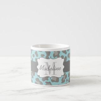 Taza De Espresso Taza azul y gris del estampado leopardo del café