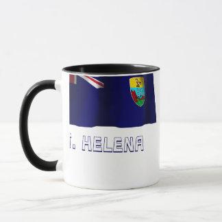 Taza Bandera que agita de Santa Helena con nombre