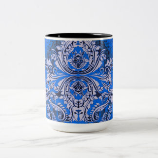 Taza Bicolor Abstracto-Diseño-Pañuelo-Azul (c) unisex